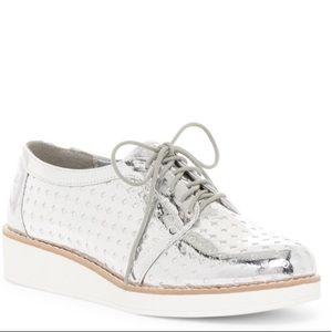 Silver wedge sneaker